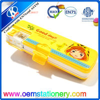 Back to school multifunction double side open plastic pencil case with sharpener for teenagers