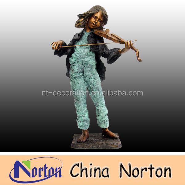 young girl playing violin brass statue NTBH-C257