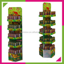 Custom high quality cheap price retail store 5 layers cardboard biscuit display stands