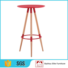 Wholesale round MDF bar table with wooden leg