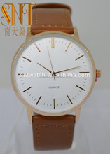 custom watches men classic simple style casual watch Brown PU stap