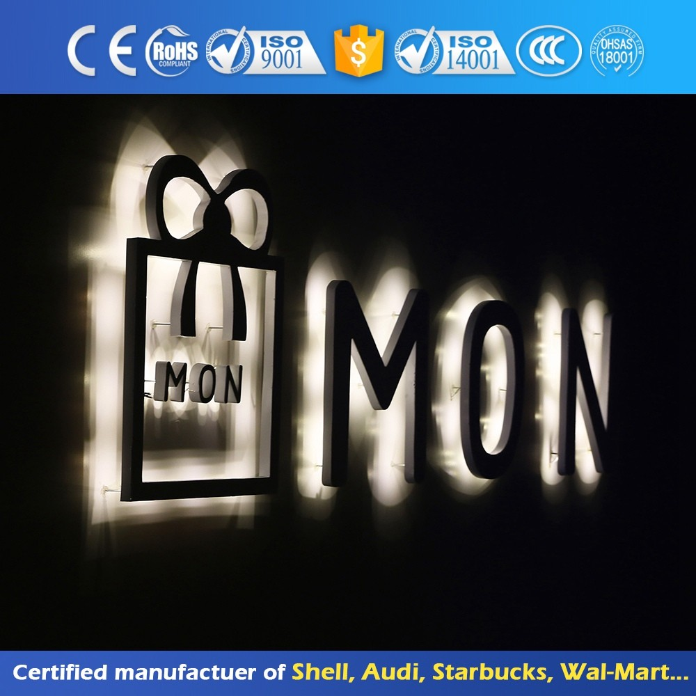 Attractive Back-Lit Signageoutdoor Stainless Steel Signage Led Alphabet Metal Surface Backlit Letter Sign