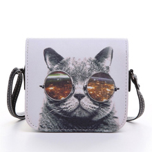 Bolsos Carteras Mujer Marca Women PU Leather Cat Wearing Glasses Print Messenger Handbag 2015 Women Bag