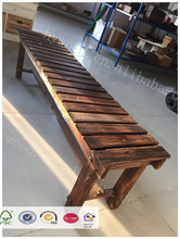 antique vintage used carbonized anticorrosion long chair outdoor indoor garden bench wooden slats for home and park rest