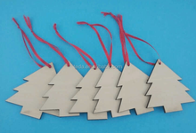 WOODEN CHRISTMAS TREE BAUBLE DECORATION 8cm laser cut wood shapes