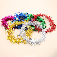 Christmas decoration christmas shiny tinsel garland with stars