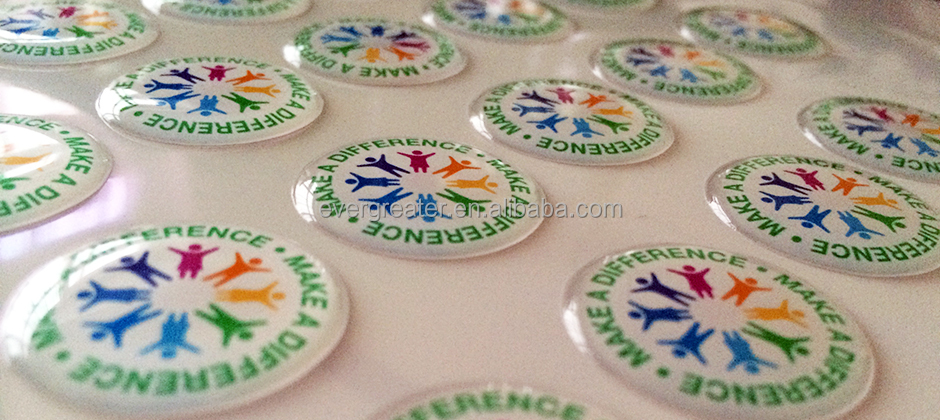 Custom dome stickers, silicone epoxy pu sticker with 3m glue