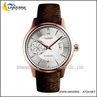 High end genuine leather automatic movement watch with sapphire glass