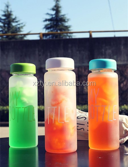 500ml pet glass bottle drinking water bottle with bag