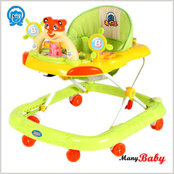 foldable and adjustable height baby walker,can removeable seat fabric kids walker with many toys
