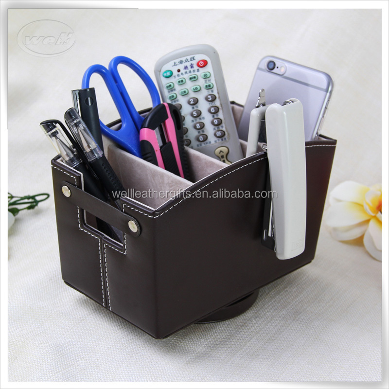 Revolving Leather Four Compartments TV Remote Control Caddy - Brown-WL11027