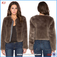 Modern Style High Quality Fashion Mink Fur Coat Embroidered Placket Faux Fur Coat / Fur Jacket