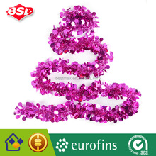 Magenta Pink Double Round Shape Hanging Christmas Tinsel - 2M long x 10cm wide