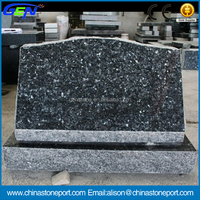 Natural Blue Pearl Granite Polished Monumental Slant Tombstone
