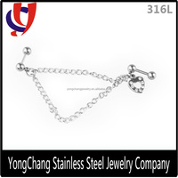 Top sale beautiful stainless steel silver cartilage earring chain with heart shape setting gems for body jewelry