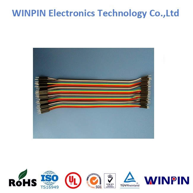 2.54mm pitch 40pin WINPIN Male to Male jumper wire Dupont cable for Arduino Breadboard Made in China.