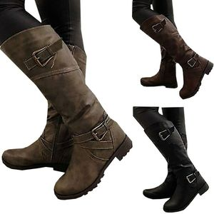 L3121A women winter autumn spring pu leather flat heels boots ladies low heel roman boots