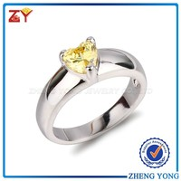 Golden Yellow CZ Gemstone Ring, Heart Shaped Gemstone Ring CZ Ring