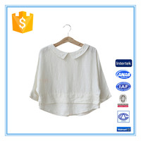 Ladies Latest Doll Collar 3/4 Sleeve White Blouses Short Shirt Designs 2016