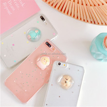 2017 Hot Selling Liquid Transparent Soft 3D Silicone Bear Back Cover Case for iphone 7/7Plus