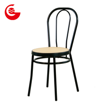 Fully assembled PP rattan seat metal kitchen stackable dining chairs