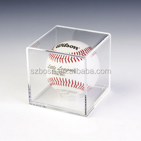 Clear Acrylic,Cube Baseball Display Case with Lift-Off Top, Removable Riser