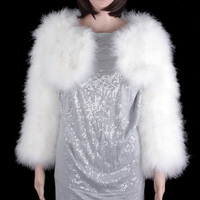 Quality Natural Ostrich Feather Women's Short Design Fur Coat KZ150122
