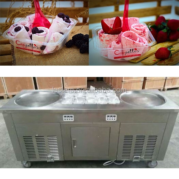 Heavy duty stirring ice cream rolls machine