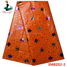 Orange bazin fabric for garment good quality bazin riche for lady