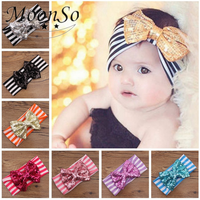 Wholesale lovely Baby Children fabric stripes sequins bow Hair Accessories elastic Headband Hair Band Jewelry MoonSo AH5735