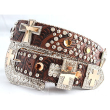 Womens Western Genuine Brown Color Rhinestone Zarb Belt