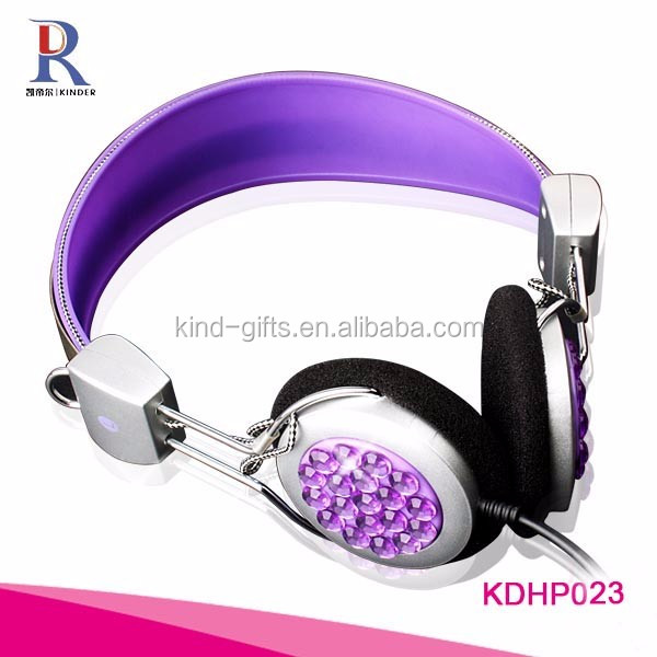 Shining bling diamond beaded fancy vibrating most durable bluetooth headset wholesale