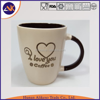 Fashionable and simple design cheap stoneware ceramic mug with hanlde, Ceramic coffee cups with inner color as special gift