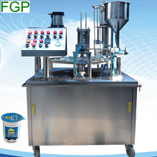 Automatic rotary plastic pot/cup fill seal machine with date printer made in China with factory price