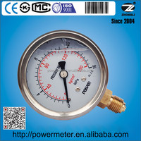 Shock proof glycerin pressure gauge 2-1/2 inch SS304 case LM 160 Mpa thread size 1/4 G