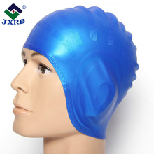 Wholesale extra large long hair solid perfect silicone ear protection swimming caps