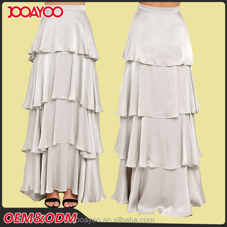 Attractive Fashion Ladies Designer Long Chiffon Skirt Suits Silver Satin Layered Maxi Skirt