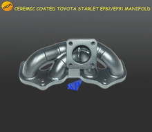 Ceramic coating 3mm tube thickness steam pipe Fit To*yota Starlet EP82 EP91 Stainless Racing Exhaust Manifold Header T25 Flange