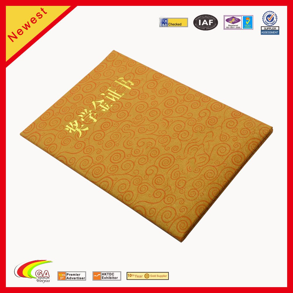 2018 cheapest gold pu leather certificate presentation folder holder gold stamp logo supplier china