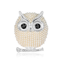 Fashion cute animal brooch pins jewelry owl pearl brooches for women