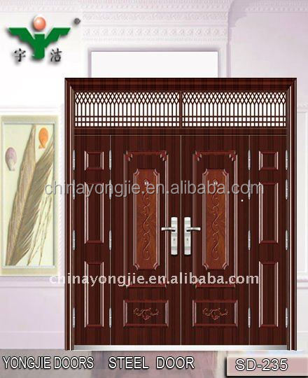 commercial double steel doors Steel Security Main Entrance Door Design (SD-235)