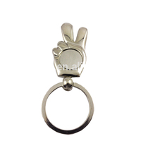 custom victory gesture key holder polish metal hand shaped keychain blank keychain