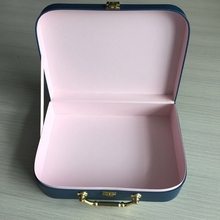 Popular in UK , paper briefcase box for gift customized the printing and size and luxury golden handle & plastic handle