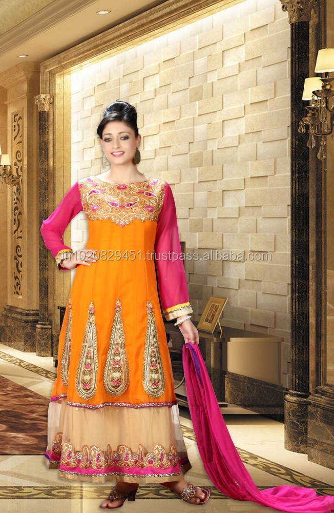 Pretty Orange Anarkali