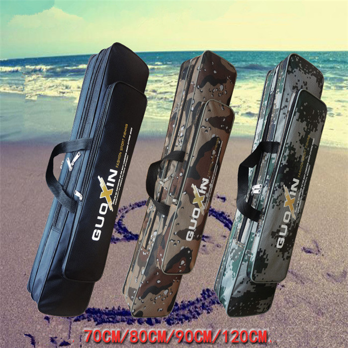 Outdoor Canvas Fishing Backpack 70cm/80cm/90cm/120cm 2 Layers Fishing Bag Water Resistant Fishing Rod Bag Pesca Tackle