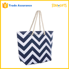 Ladies Canvas Beach Chevron Printed Shopping Tote Bag With Cotton Rope Handles Black