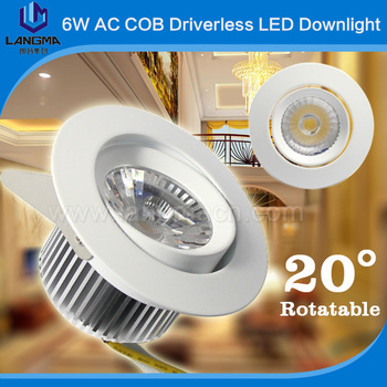 2017 Dimmable 6w Samsung AC cob donwlight led without driver