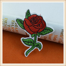 lastest rose flower design iron on patch/applique embroidery for garment