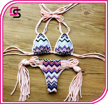 2017 New Sex Photo Best Selling Bikini for Sexy Women-Chevron Print Tied Swimsuit with Tassel