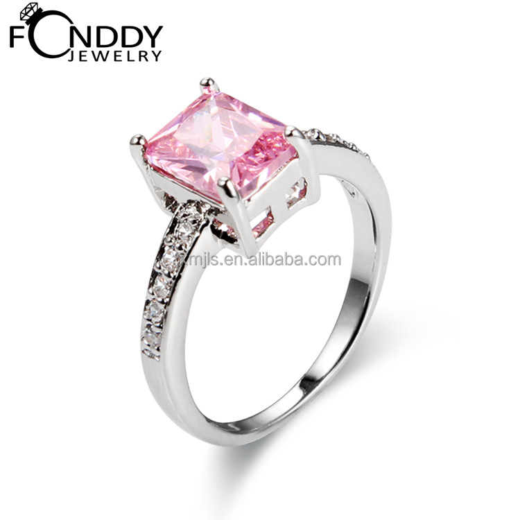 Gracious 925 sterling silver pink gemstone rings for wedding